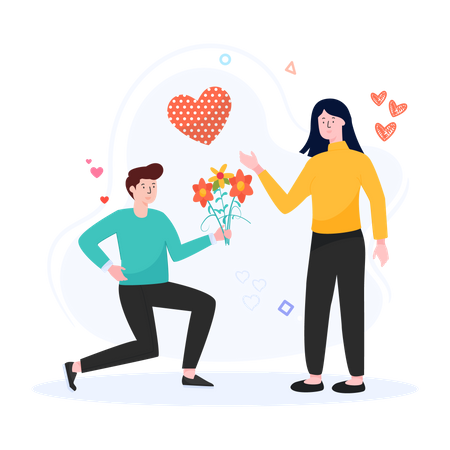 Man proposing girlfriend Illustration