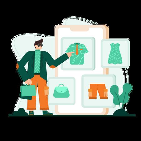 Man purchasing fashion products online Illustration