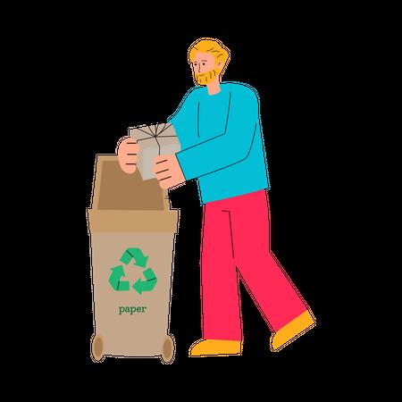 Man putting cardboard gift box in paper recycling bin Illustration