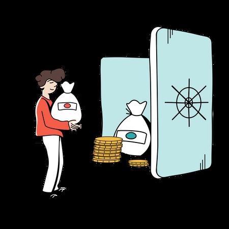 Man putting money in bank locker Illustration