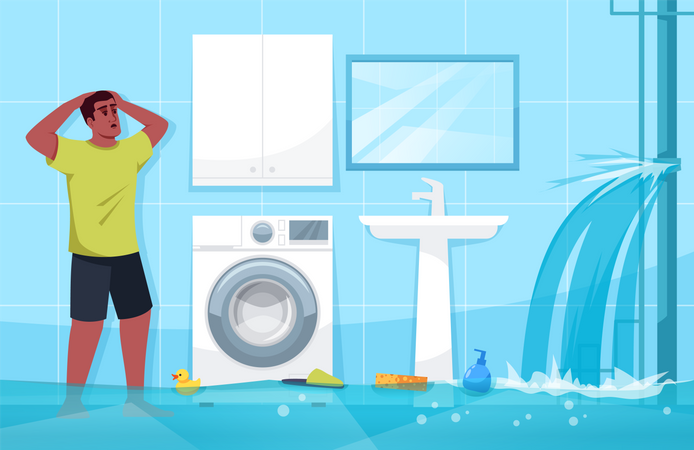 Man puzzled by broken water pipe Illustration