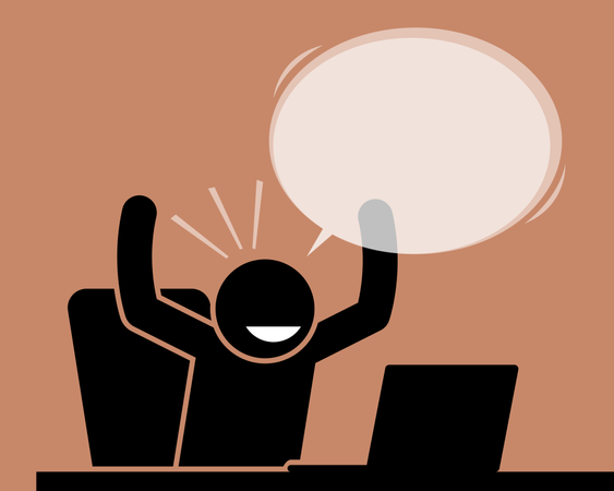 Man raising his hands while looking at the computer screen Illustration