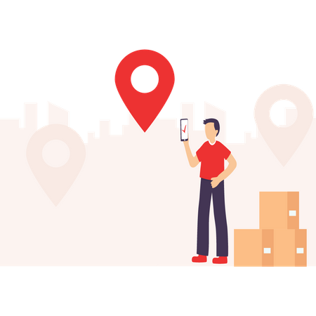Man reached to location of delivery Illustration