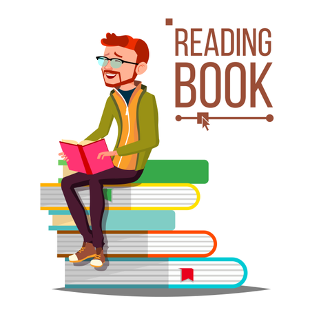 Man Reading Book Illustration