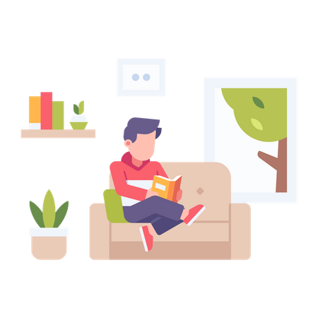 Man reading book at home Illustration