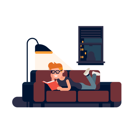 Man reading book on a couch at night Illustration