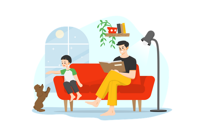 Man reading book while his kid playing with dog Illustration