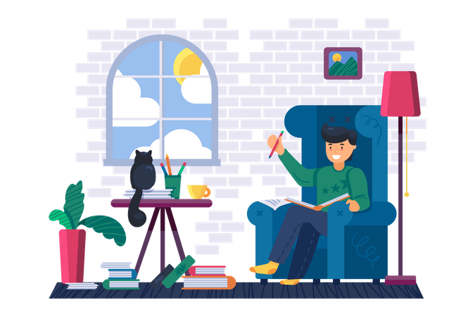 Man reading education book at home library Illustration