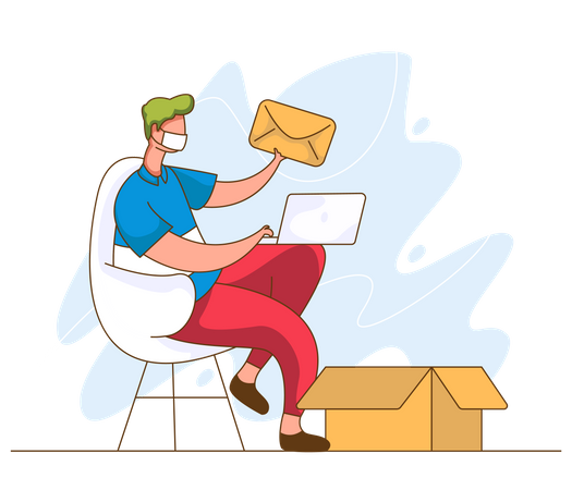 Man received mail while working on laptop Illustration