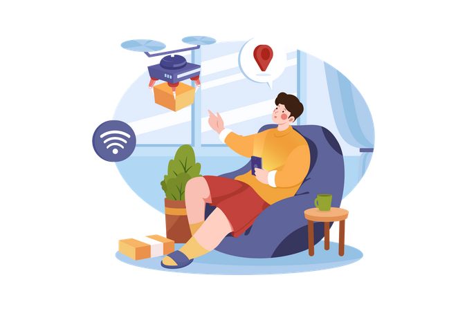 Man relaxing and receive package from drone Illustration