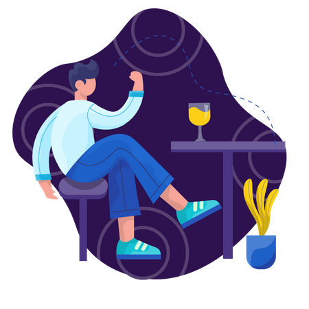 Man relaxing in free time Illustration
