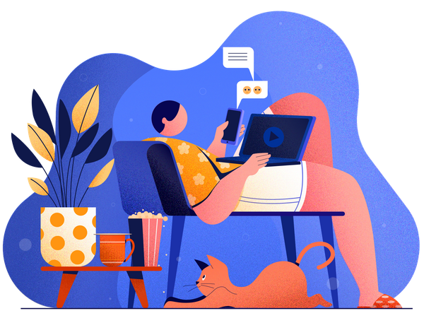 Man relaxing in the home Illustration