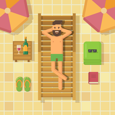 Man relaxing on a chaise lounge at poolside Illustration