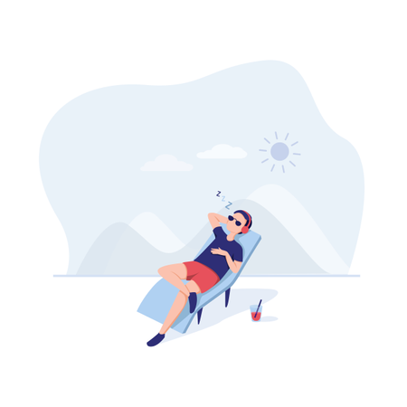 Man relaxing on beach side Illustration