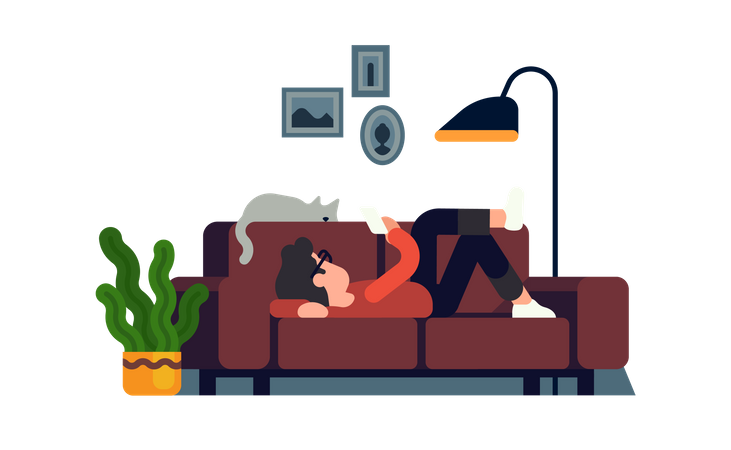 Man relaxing on couch with his phone Illustration