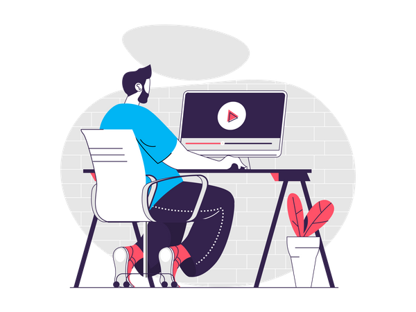 Man remotely watching webinars Illustration