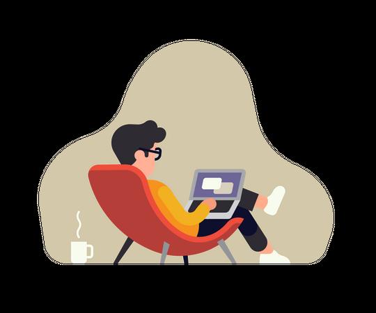 Man Remotely working Illustration