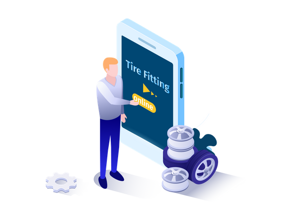 Man requesting tire fitting service on application Illustration