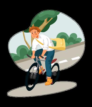 Man riding bicycle Illustration