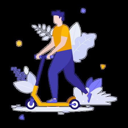 Man riding kick scooter Illustration