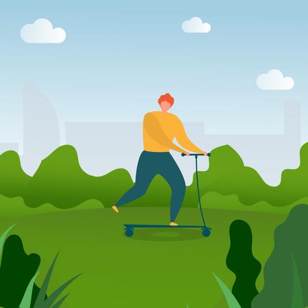 Man Riding Kick Scooter in Park Illustration