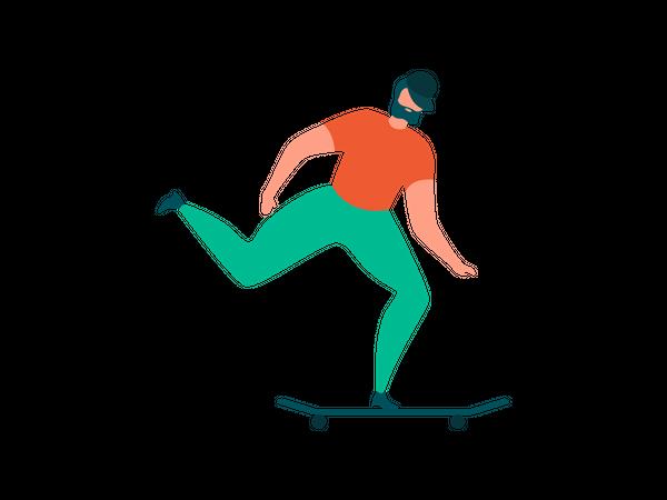 Man Riding Skateboard Illustration