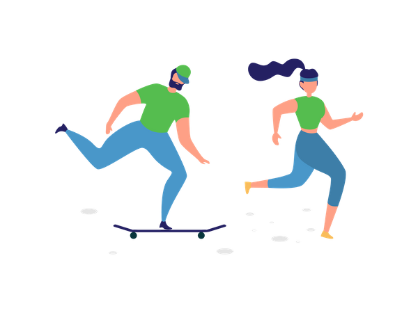 Man riding skateboard and lady running in park Illustration