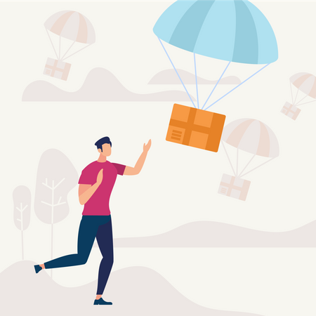 Man Run and Catching Parcel Falling with Parachute Illustration