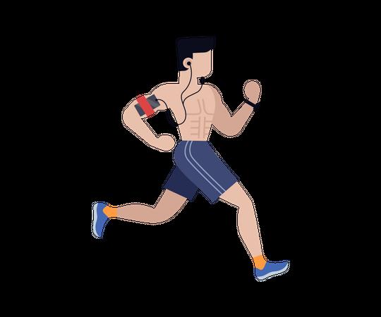 Man running and listening music Illustration