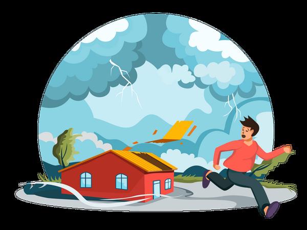 Man running away from thunder storm Illustration
