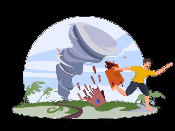 Man running away from tornedo Illustration