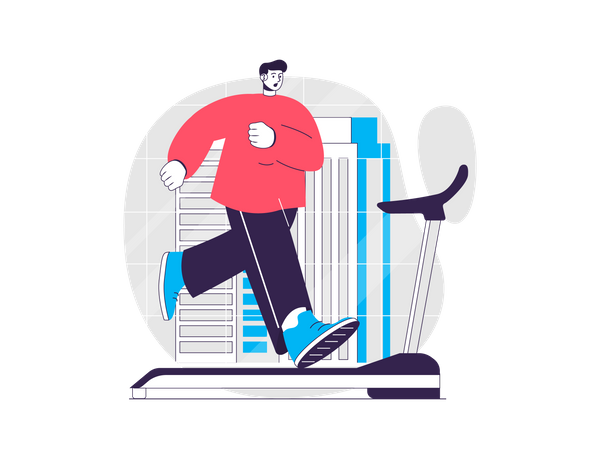 Man running on a treadmill Illustration