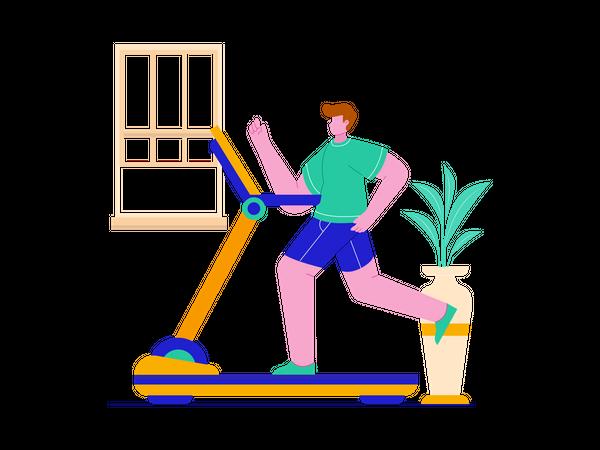 Man running on treadmill Illustration