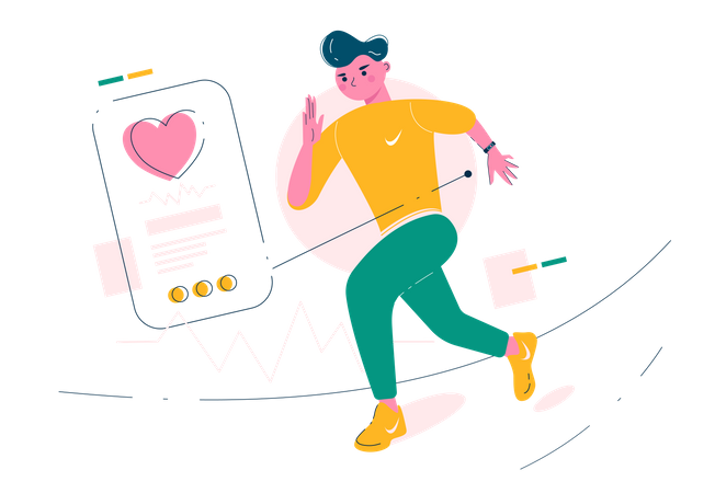 Man running wearing smart band Illustration