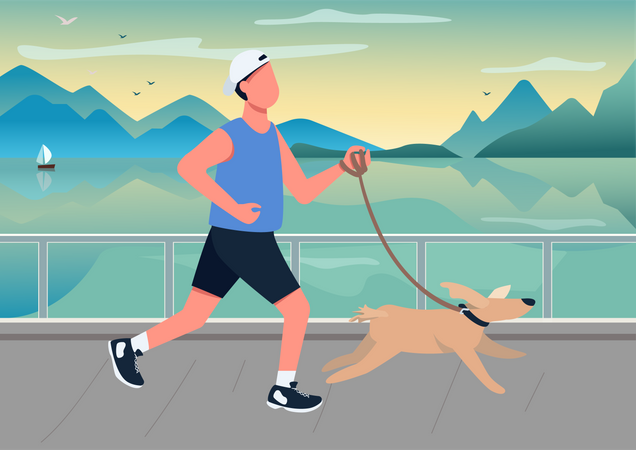 Man running with dog on seafront Illustration