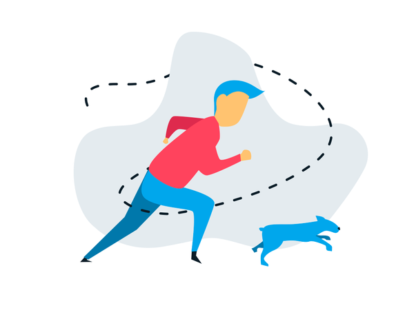Man running with his pet Illustration