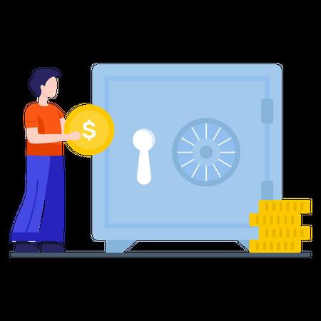 Man saving his money in safe vault Illustration