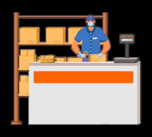 Man scanning delivery boxes Illustration