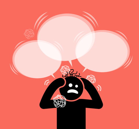 Man scratching his head and hair Illustration