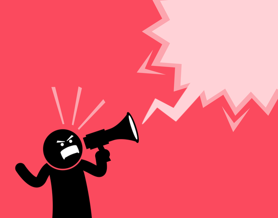 Man screaming out loud with a megaphone Illustration