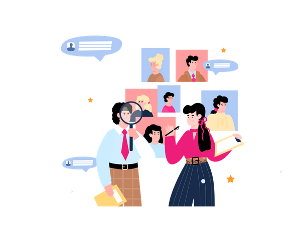 Man searching job and woman holding pen and paper Illustration