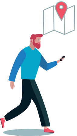 Man searching location from his phone map while walking Illustration