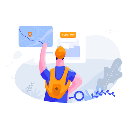 Man searching route for hotel booking Illustration