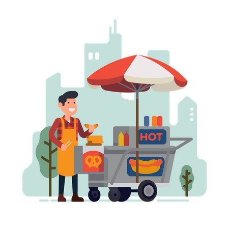 Man selling hot dogs in park Illustration