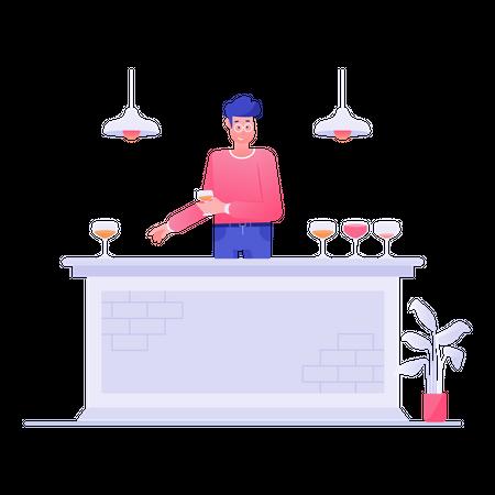 Man Serving Beer In Bar Illustration