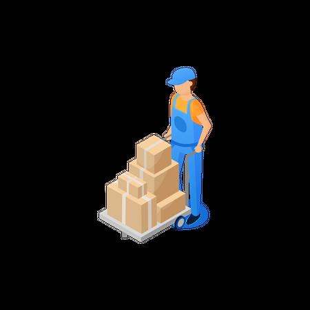 Man shifting parcel boxes through trolley Illustration
