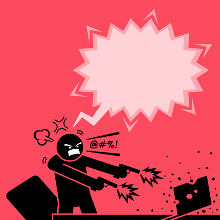 Man shooting at a computer with two guns because he is very angry at the laptop Illustration