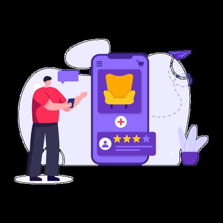 Man shopping for furniture using online shopping app Illustration