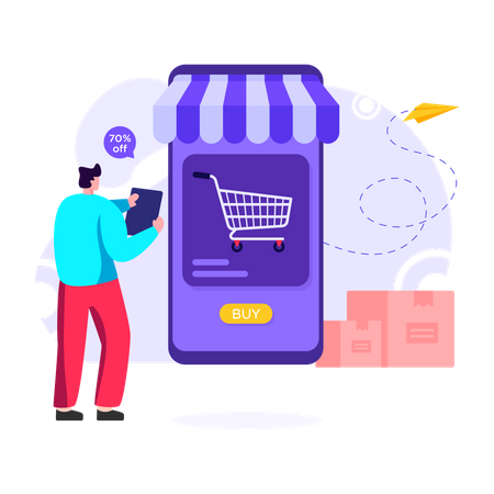 Man shopping online on sale day Illustration