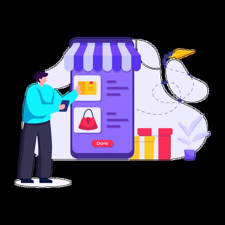 Man shopping online using smartphone app Illustration